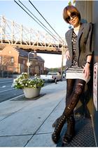 blazer - dress - dress - tights - shoes - sunglasses