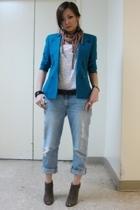 blazer - jeans - Forever21 top - Nine West shoes - vivienne westwood scarf - Zar