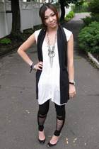 Zara dress - giordano vest - H&amp;M leggings - Sigerson Morrison shoes - Barneys Ne