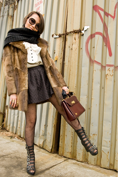 black H&M scarf - brown vintage fur coat - beige 31 phillip lim blouse - black F