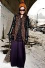 Black-h-m-jacket-purple-cdg-cardigan-black-h-m-top-purple-pp-dress-brown