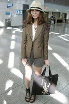 brown jacket - brown shorts - white top - brown YSL bag - black shoes - beige Za
