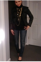 Zara jacket - jeans - forever 21 necklace - Sigerson Morrison shoes