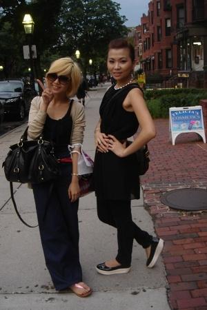 black Puma shoes - black h&m H&M dress