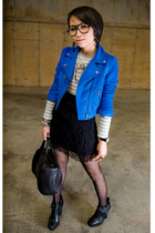 blue H&M jacket - gray Gap t-shirt - black H&M skirt - black sam edelman shoes -