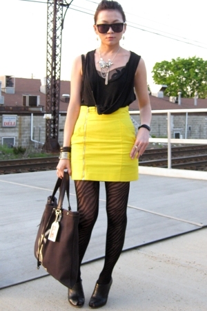 Zara top - DKNY top - H&M skirt - besty johnson tights - Zara shoes - YSL access