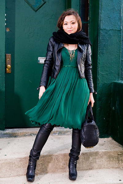 green 31 phillip lim dress - black sam edelman shoes - black H&M jacket