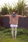 Beige-tony-bianco-boots-gray-dangerfield-scarf-light-pink-vintage-jumper