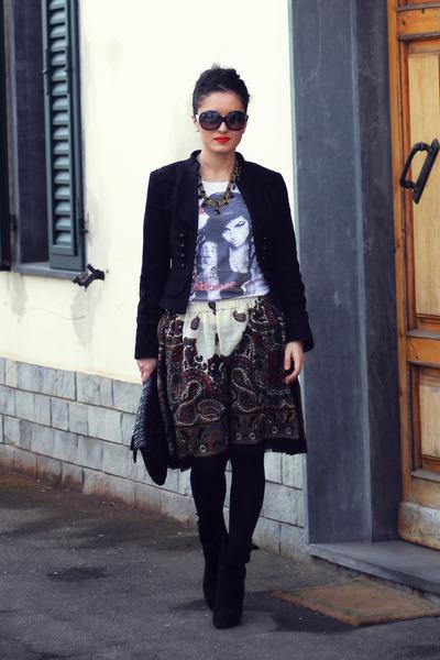 black Zara jacket - white myt-shirt t-shirt