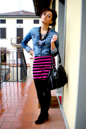 denim Dixie jacket - patent Carpisa bag - striped Newlook skirt - striped H&M t-