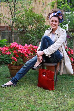 beige trench Zara coat - navy Koralline jeans - navy vintage scarf - ruby red re