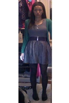 H&M t-shirt - forever 21 skirt - H&M tights - Target shoes - H&M sweater - H&M n