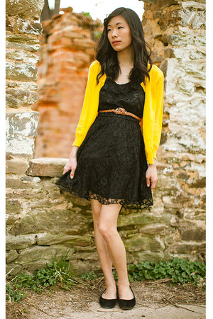 black lace H&M dress - yellow mustard yellow H&M cardigan