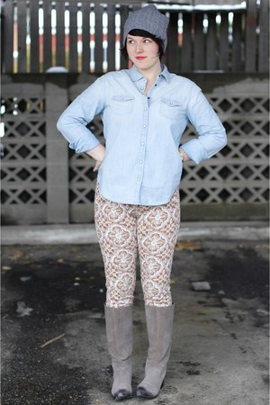 chambray American Eagle blouse - gray Urban Outfitters boots