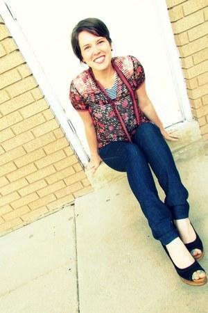 cotton vintage t-shirt - dark wash DC jeans - silk floral Anthropologie blouse