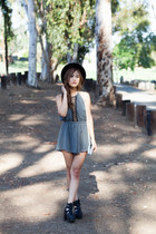 halter salsit romper - fedora Urban Outfitters hat - Urban Outfitters bag