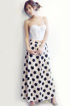 maxi skirt Nasty Gal skirt - Forever 21 cardigan - lace bustier Nasty Gal top