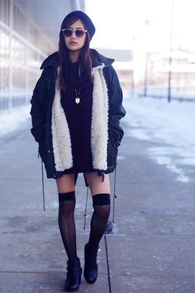 turtleneck American Apparel sweater - booties Forever 21 boots - beanie asos hat