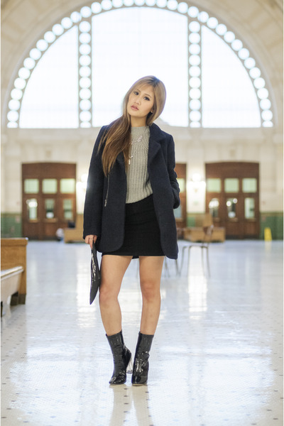 wool coat Tobi jacket - patent leather linzi boots - denim Forever 21 skirt
