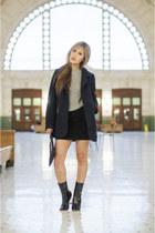 wool coat Tobi jacket - patent leather linzi boots - denim Forever 21 skirt