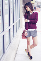 knitted sweater Forever 21 sweater - collar shirt madewell shirt - Miu Miu bag