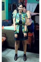 green Moms blouse turned into vest vest - blue random from bazaar dress - black