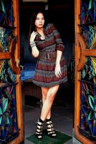 red Promod dress - black Mafia accessories - black from US shoes - brown belt