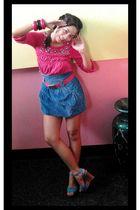 pink Mango top - blue Tomato skirt - blue So Fab shoes - pink DeptStore belt - p