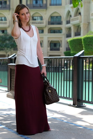 brick red Forever 21 skirt - dark brown Louis Vuitton bag