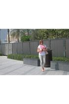 hot pink Accessorize scarf - beige H&M jeans - light blue Louis Vuitton bag
