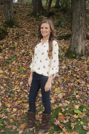 squirrel asos blouse - riding American Eagle boots - skinny Forever 21 jeans