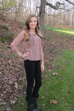 bubble gum floral Target blouse - black DSW boots - black skinny Target pants