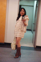 brown Aldo boots - white EGG bag - beige dress - beige H&M cardigan - beige Niss