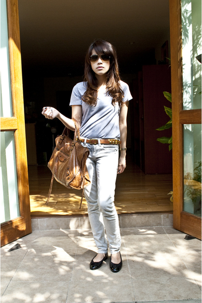 white Topshop jeans - brown balenciaga purse - black Chanel shoes