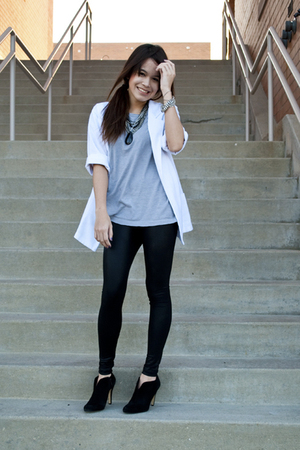 vintage blazer - Muji t-shirt - American Apparel leggings - Ninewest boots