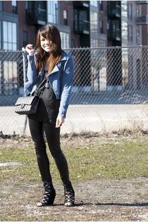 black Aldo shoes - blue H&M blazer - gray Chanel purse