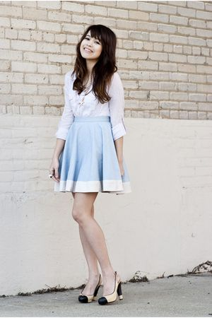 blue from bangkok skirt - beige Chanel shoes - purple Urban Outfitters shirt