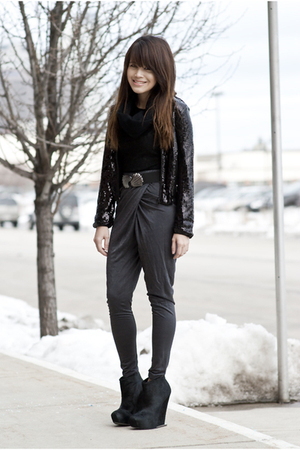 black H&M jacket - gray H&M pants - black BCBG boots