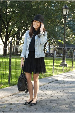 black Target hat - blue  jacket - black Alexander Wang bag