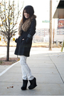 Black-bcbg-boots-white-topshop-jeans-brown-h-m-scarf