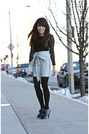 black shirt - blue heidis secret skirt - black Chanel boots
