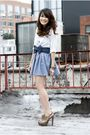 beige Prada shoes - white urban outfitter shirt - blue American Apparel skirt