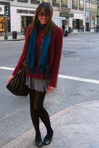 red kohls cardigan - blue Esprit scarf - silver H&M skirt - black payless shoes