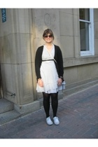 Urban Outfitters glasses - Vero Moda dress - Miss Selfridges sweater - H&M purse