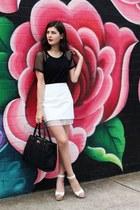 t-shirt mesh Glassons t-shirt - Forever New bag - shellys london heels