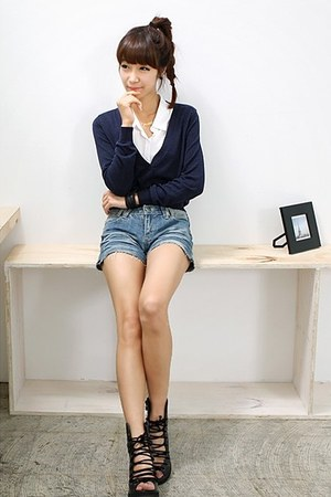 sky blue diy shorts DIY jeans - black Youth shoes - navy woolen WHD cardigan