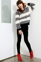red Kchat boots - black calvin klein jeans - gray woolen Princess sweater