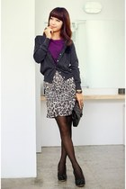 charcoal gray kara cardigan - heather gray Divos skirt - black Gucci bag - black