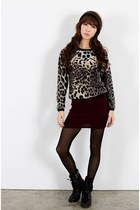 dark brown hat - brown leopard sweater - crimson Chris shorts - black Kchi boots