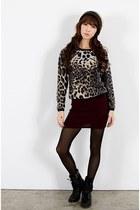 dark brown hat - brown leopard sweater - crimson Chris shorts - black Kchi boots